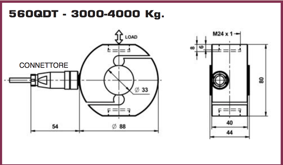 Ingombri dimensionali cella di carico 560QD